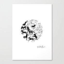 Yin Yang Horses Canvas Print