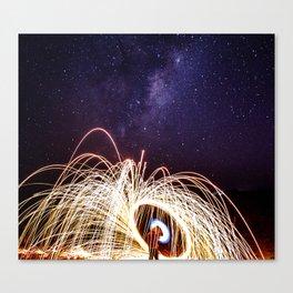 Lightpainting under the sky Canvas Print