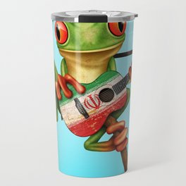 Tree Frog Playing Acoustic Guitar with Flag of Iran Travel Mug