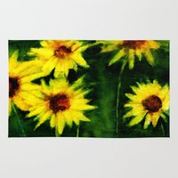daisies Area & Throw Rugs featuring daisies by agnes Trachet