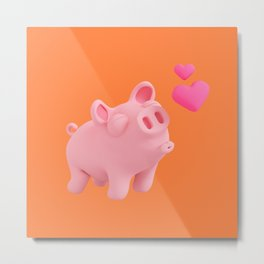 Rosa the Pig love Hearts! Metal Print