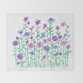 Cheerful spring flowers watercolor Throw Blanket