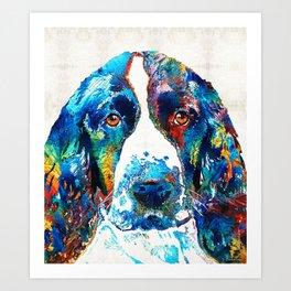 Colorful English Springer Spaniel Dog by Sharon Cummings Art Print