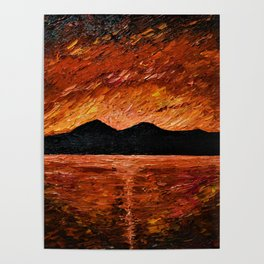 FIERY SUNSET AT MURLOUGH - Oil  Painting Poster