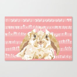 Bunny Composition (beige/pink) Canvas Print