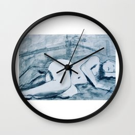 In the studio- charcoal and ink nude study of model reclining. Wall Clock