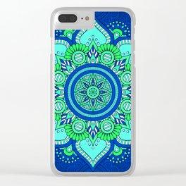 Blue Flower Mandala Clear iPhone Case