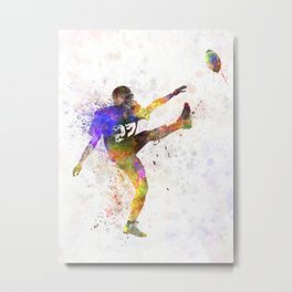 american football player man kicker kicking Metal Print
