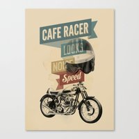 cafe racer Canvas Prints featuring cafe racer by Liviu Antonescu