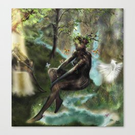 Woodwoses and the dream Forest [Single Panel version] Canvas Print