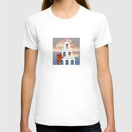 Island Santorini sunset White belfry with bougainvillea from Greece T-shirt