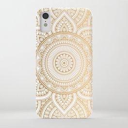 Gold Mandala Pattern Illustration With White Shimmer iPhone Case