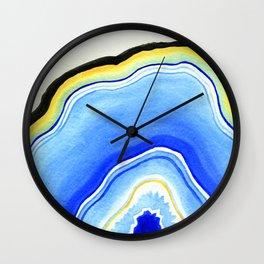 Blue Watercolor Agate Wall Clock