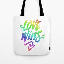 Love Wins Lettering with Rainbow colors Gradient Tote Bag