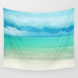 Blue Turquoise Tropical Sandy Beach Wall Tapestry