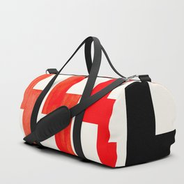 Red Orange Geometric Minimalist Watercolor Geometric MInimalist Mid Century Modern Lightning Bolt Pa Duffle Bag