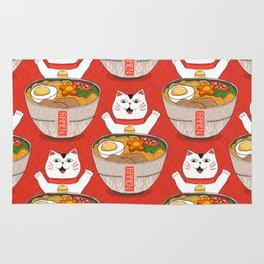 Liter of Ramen. Japanese soup and Manekineko cat. Rug