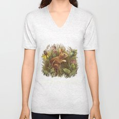 The Cottontail and the Katydid Unisex V-Neck