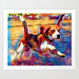 Beach Beagle Art Print