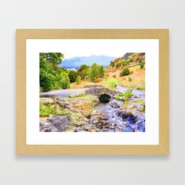 Bridge on the Road to Ashness, Lake District, UK. Watercolor Painting. Framed Art Print