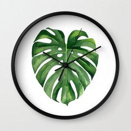 Tropical green leaf. Wall Clock