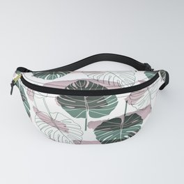 Pastel pink green white watercolor tropical floral brushstrokes Fanny Pack