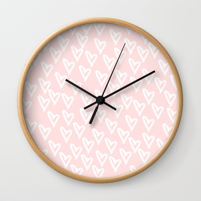 White hearts Wall Clock