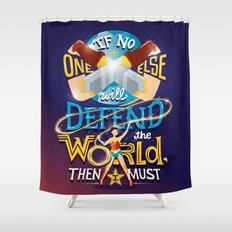 Defend your world v2 Shower Curtain