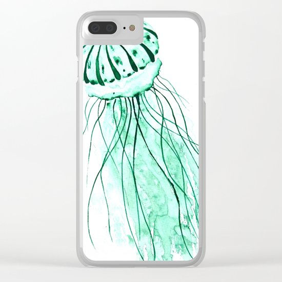 green jellyfish watercolor Clear iPhone Case