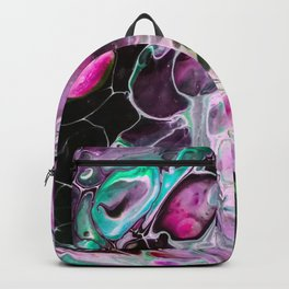 Aqua Purple Large Cell Abstract Backpack