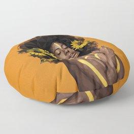 Sunflower Woman Floor Pillow