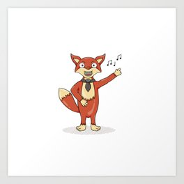 Red fox singing song with black tie. Art Print