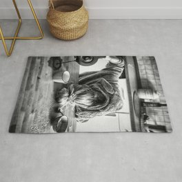 First I Drink the Coffee, Then I do the Stuff - hangover black and white photograph / photography Rug