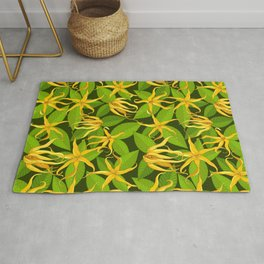 Ylang Ylang Exotic Scented Flowers and Leaves Pattern Rug
