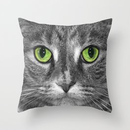 Close up Black and White portrait of a cat with Green Eyes Throw Pillow
