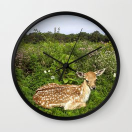 Fawn and Wildflowers Wall Clock