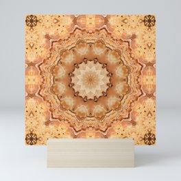 Round ornaments kaleidoscope yellow . Mandala . Mini Art Print