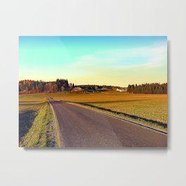 Country road through indian summer | landscape photography Metal Print