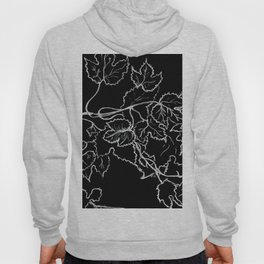 White ink, graphic, black cardboard, nature drawing maple leaves Hoody