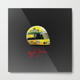Senna helmet carbon Metal Print