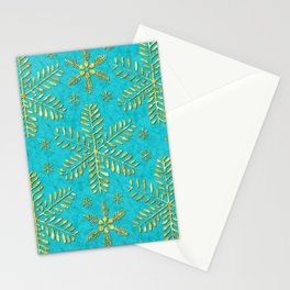 DP044-5 Gold snowflakes on turquoise Stationery Cards
