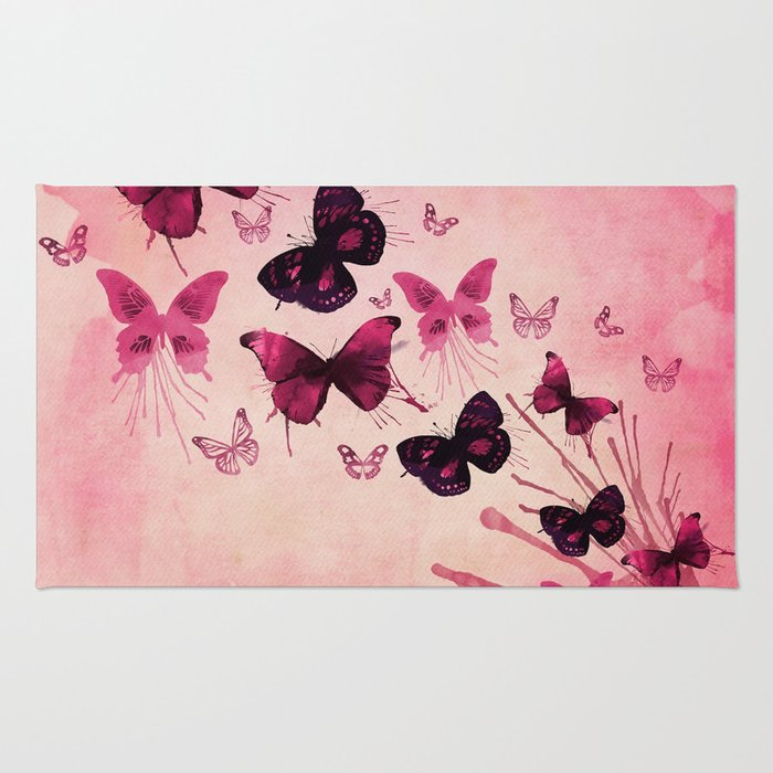PINK BUTTERFLIES WATERCOLOR Rug
