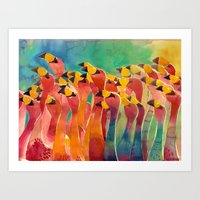 flamingos Art Prints featuring Flamingos by takmaj