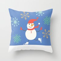 snowman Throw Pillows featuring Snowman by Mr and Mrs Quirynen