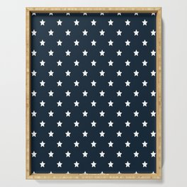 Dark Blue With White Stars Pattern Serving Tray