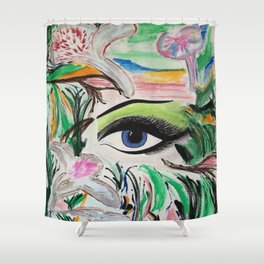 The Rain Forest Original Painting by Jodi Tomer. Blue Eye Abstract Artwork. Shower Curtain
