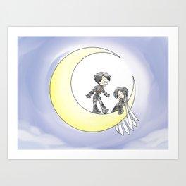 Owls on the Moon Art Print