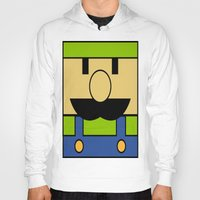 luigi Hoodies featuring Minimal Luigi by pruine