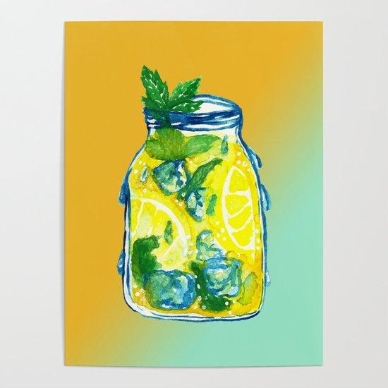 Watercolor - Ice Lemon Mint Tea by shashirahandmaker