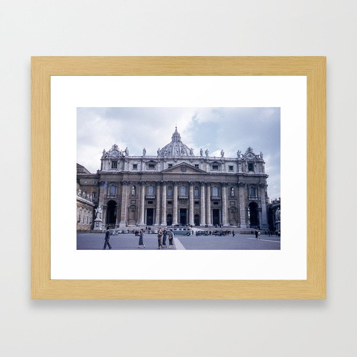 Vintage Color Photo * Kodachrome * St Peter's Basilica * 1950's * Vatican * Rome * Italy Framed Art Print